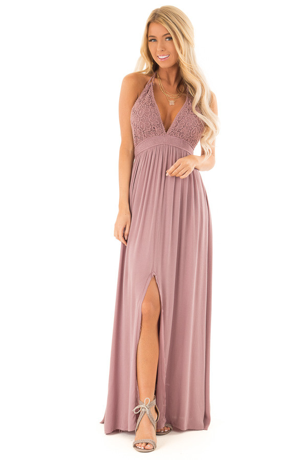 Lilac Halter Top Maxi Dress with Lace Details front full body