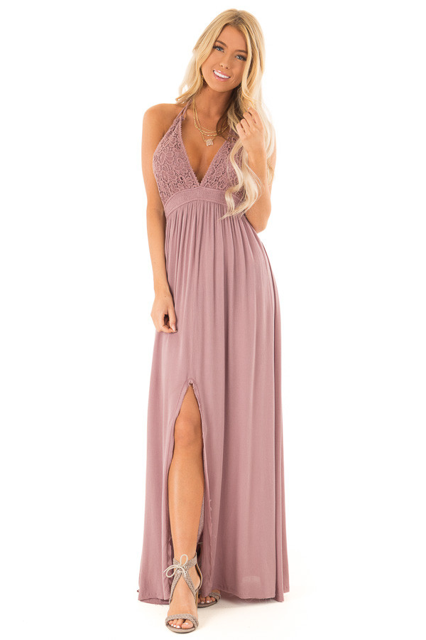 ff7c392783d ... Lilac Halter Top Maxi Dress with Lace Details front full body ...