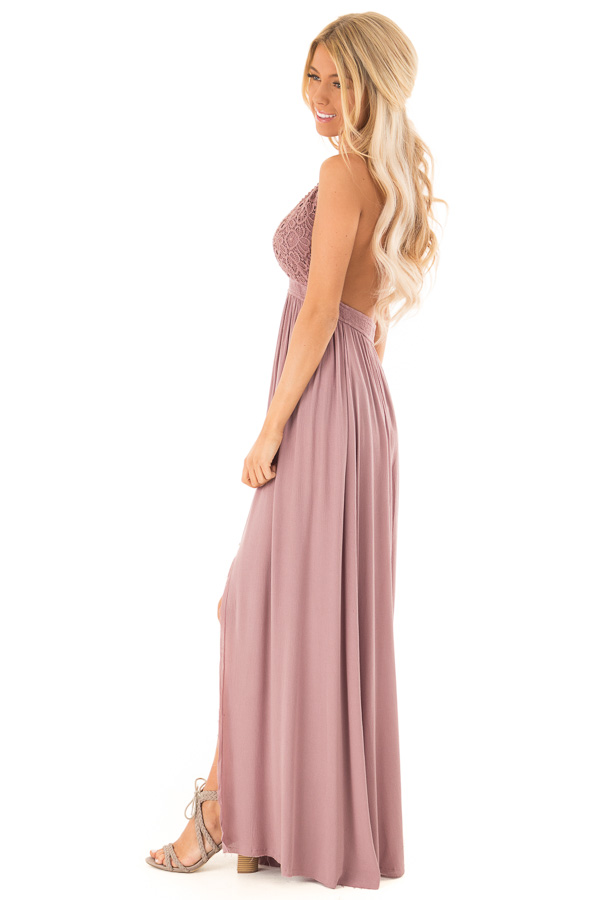 Lilac Halter Top Maxi Dress with Lace Details side full body