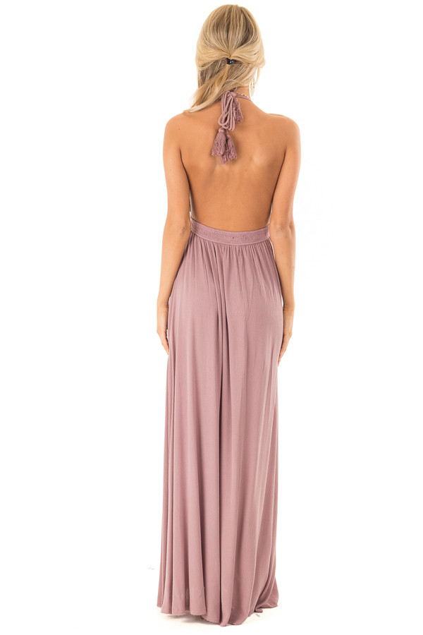 Lilac Halter Top Maxi Dress with Lace Details back full body