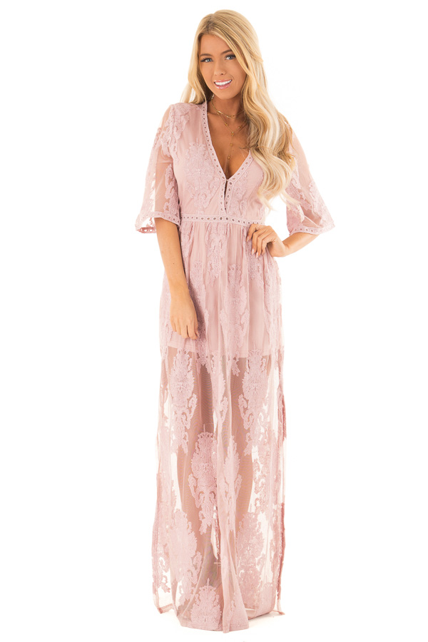 b8045dc6b43 ... Light Mauve Embroidered Maxi Dress with Plunging V Neck front full body  ...