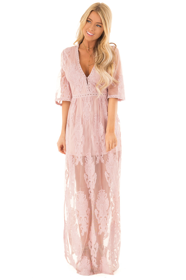 6447c7c3e62 Light Mauve Embroidered Maxi Dress with Plunging V Neck front full body ...