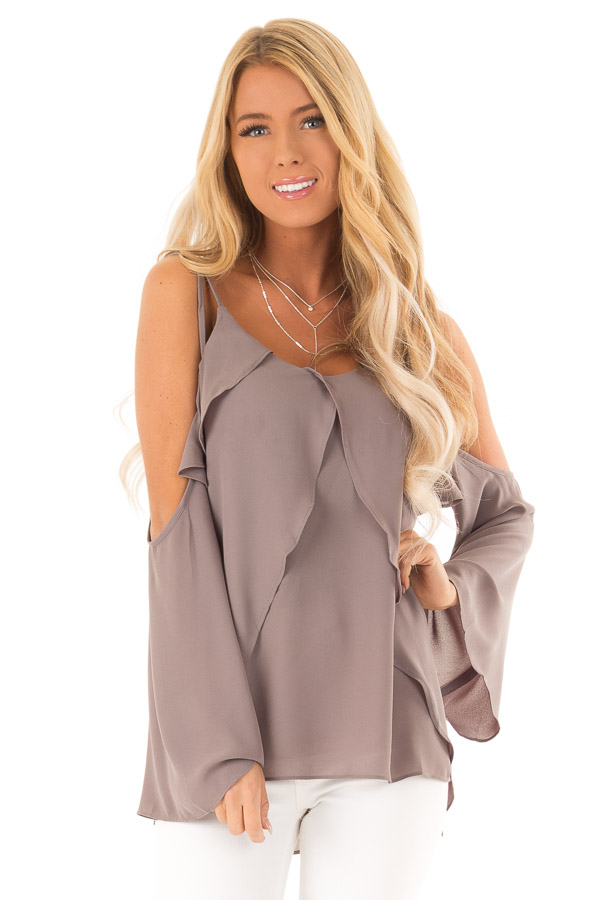 Charcoal Long Sleeve Cold Shoulder Top with Layered Front front close up