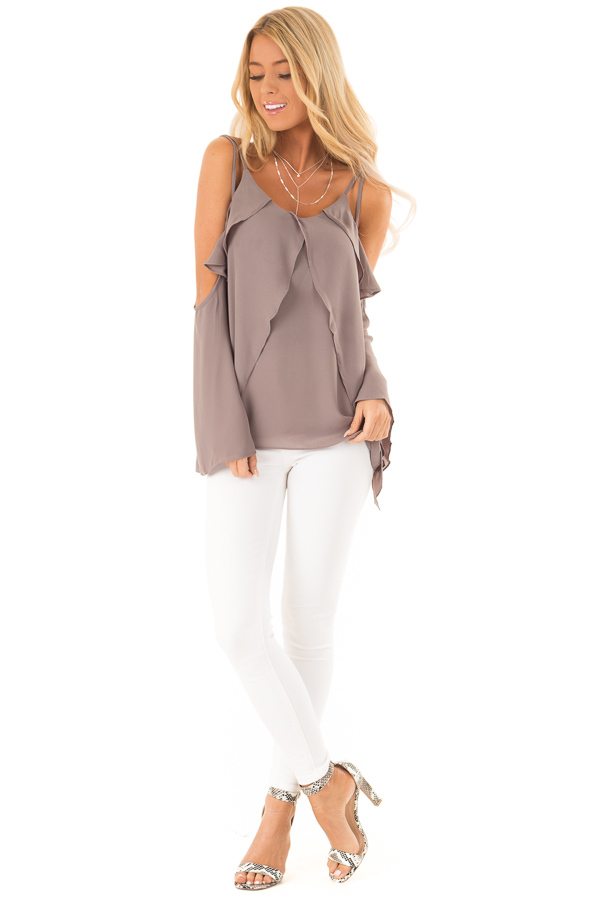 Charcoal Long Sleeve Cold Shoulder Top with Layered Front front full body