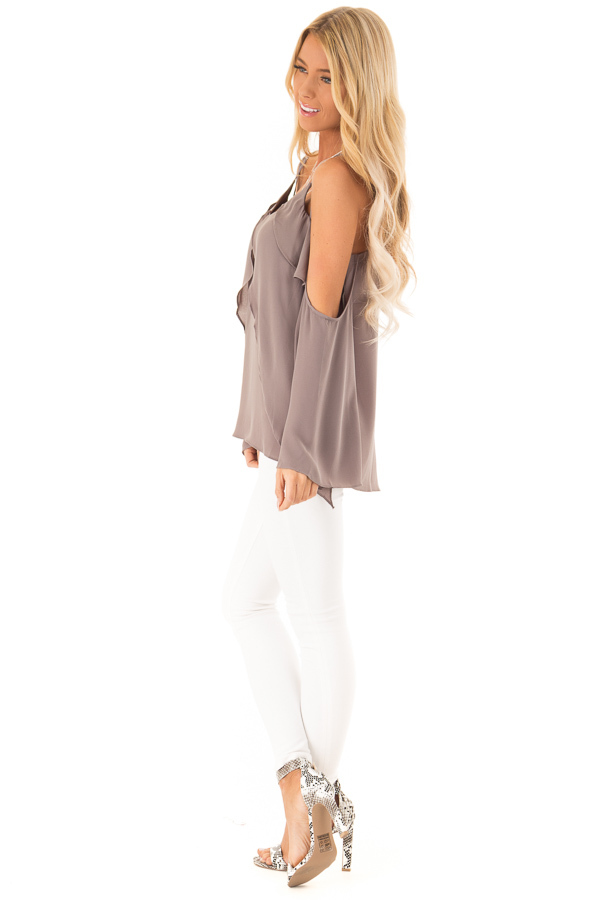 Charcoal Long Sleeve Cold Shoulder Top with Layered Front side full body