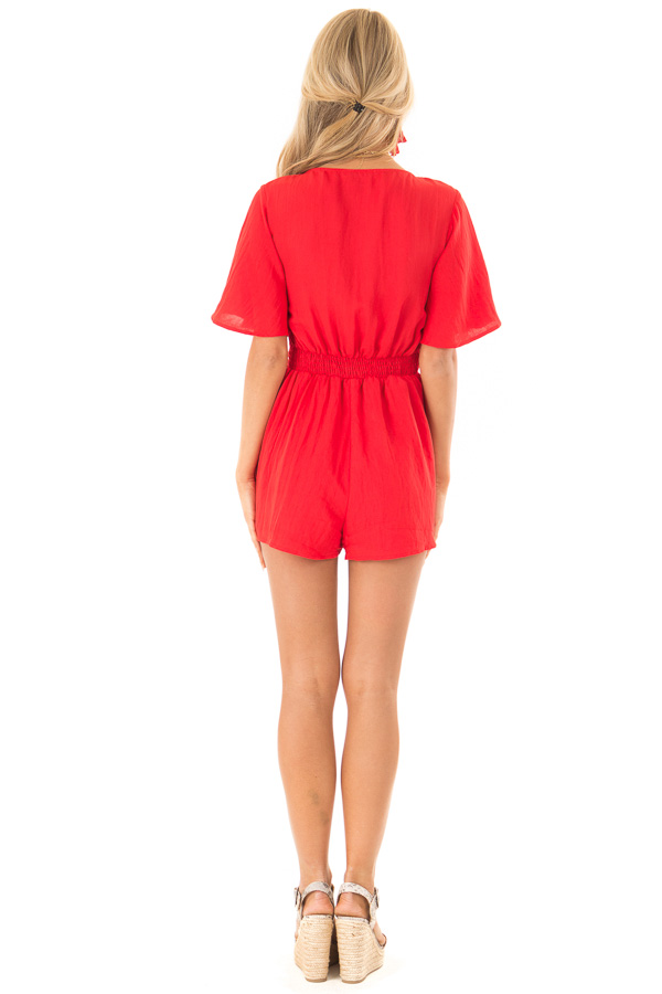 Scarlet Red Short Flutter Sleeve Romper with Front Tie back full body
