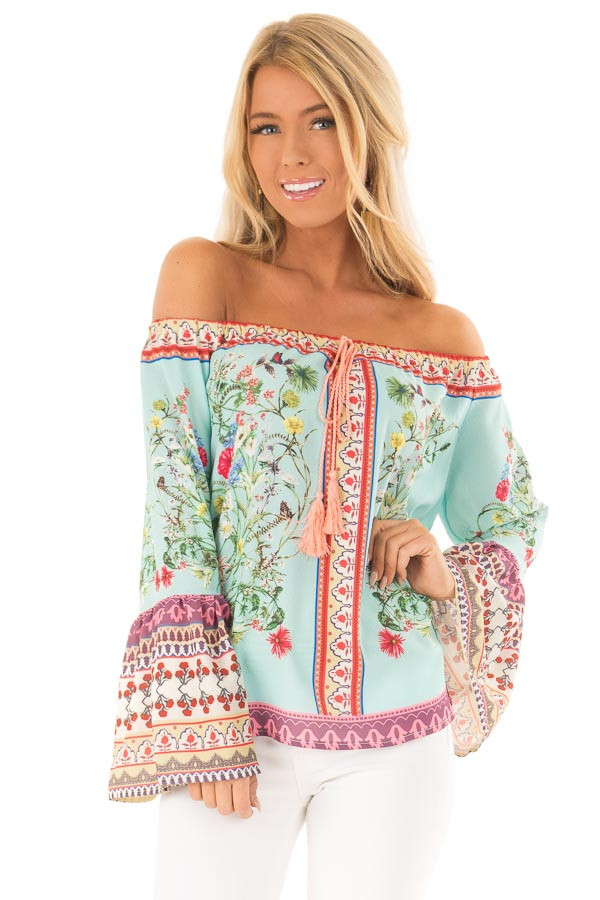 10c781c2b4c659 Seafoam Floral Off the Shoulder Top with Bell Sleeves - Lime Lush ...