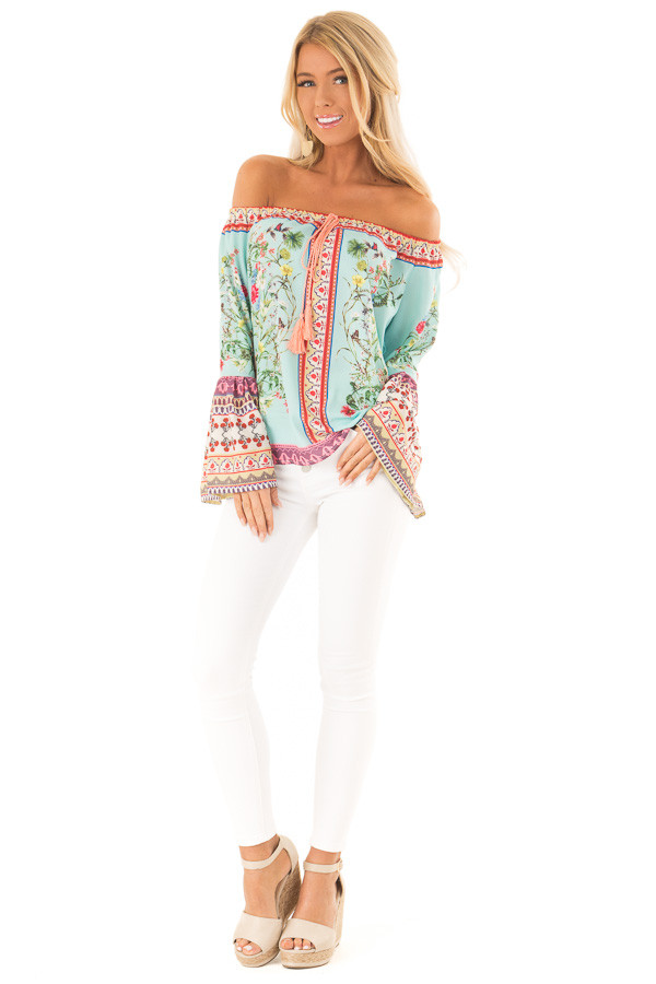 3fe928fae40a68 Seafoam Floral Off the Shoulder Top with Bell Sleeves front full body