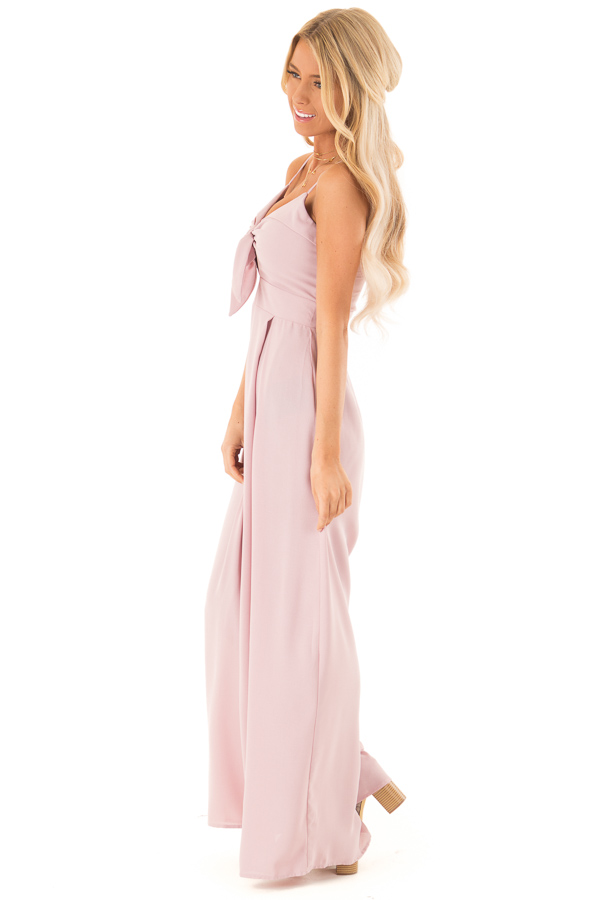 Dusty Mauve Wide Leg Jumpsuit with Front Tie Detail side full body