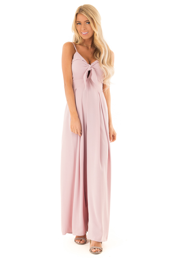 Dusty Mauve Wide Leg Jumpsuit with Front Tie Detail front full body