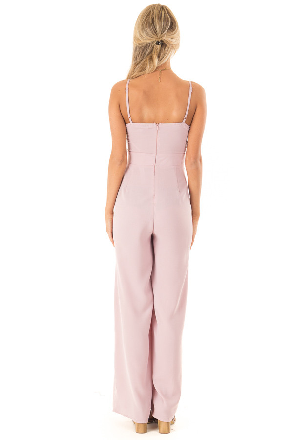 Dusty Mauve Wide Leg Jumpsuit with Front Tie Detail back full body