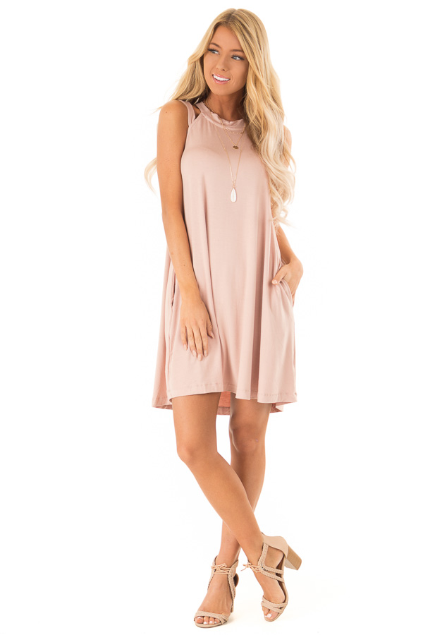 Blush Cutout Halter Shift Dress with Side Pockets front full body