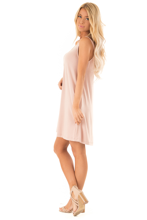Blush Cutout Halter Shift Dress with Side Pockets side full body