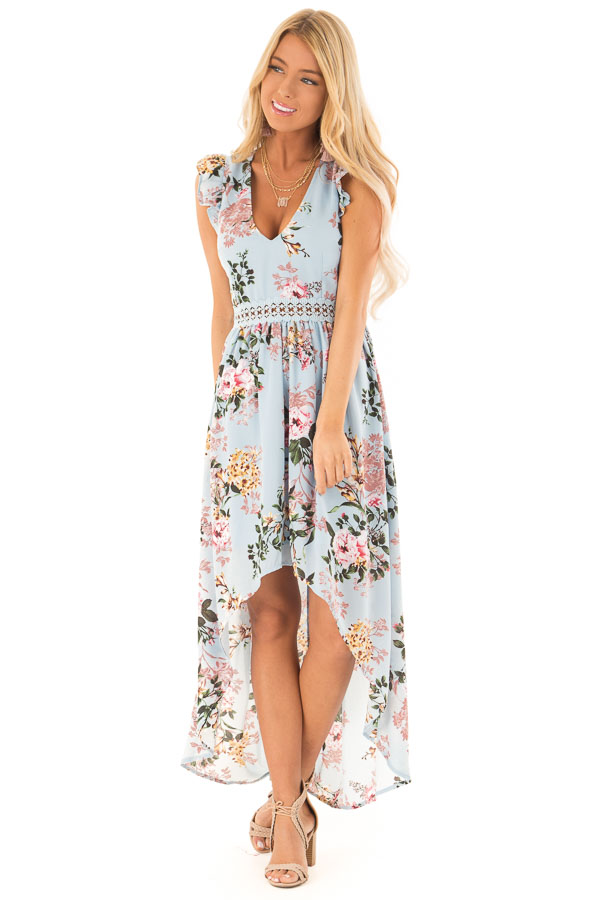 Light Blue Floral Print V Neck Dress with High Low Hemline front full body