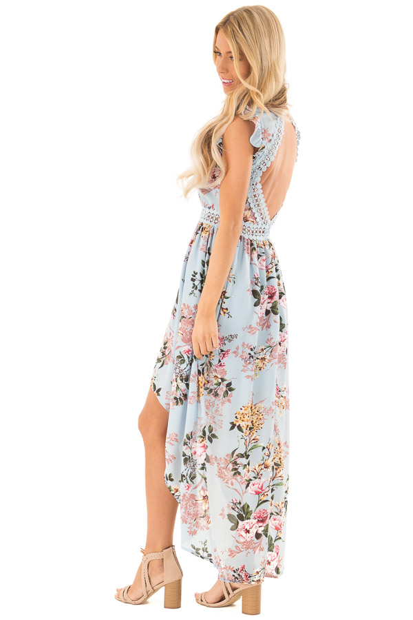 Light Blue Floral Print V Neck Dress with High Low Hemline side full body