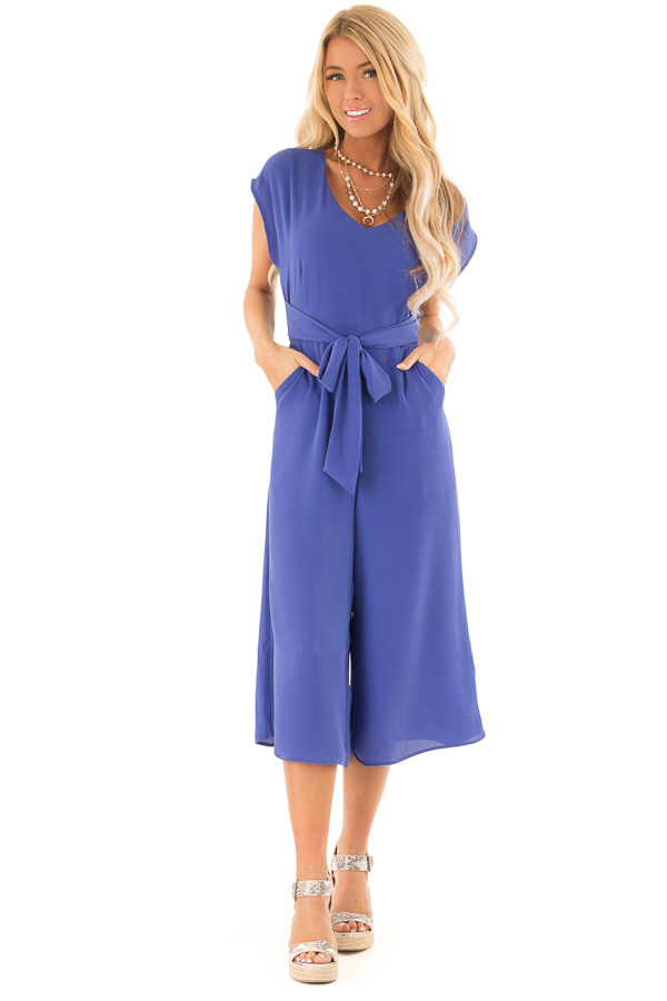 Blueberry Short Sleeve Capri Length Jumpsuit with Pockets front full body