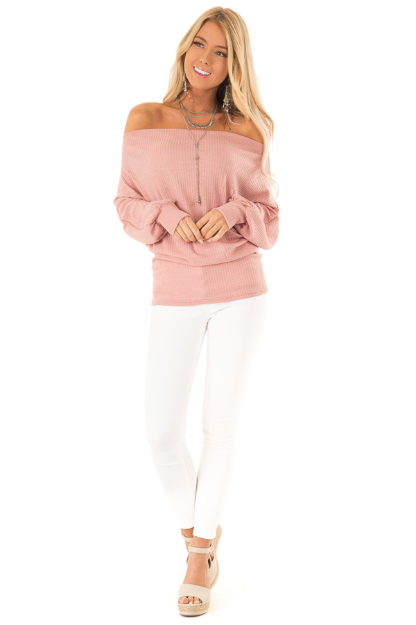 Dusty Pink Waffle Knit Off the Shoulder Dolman Top front full body