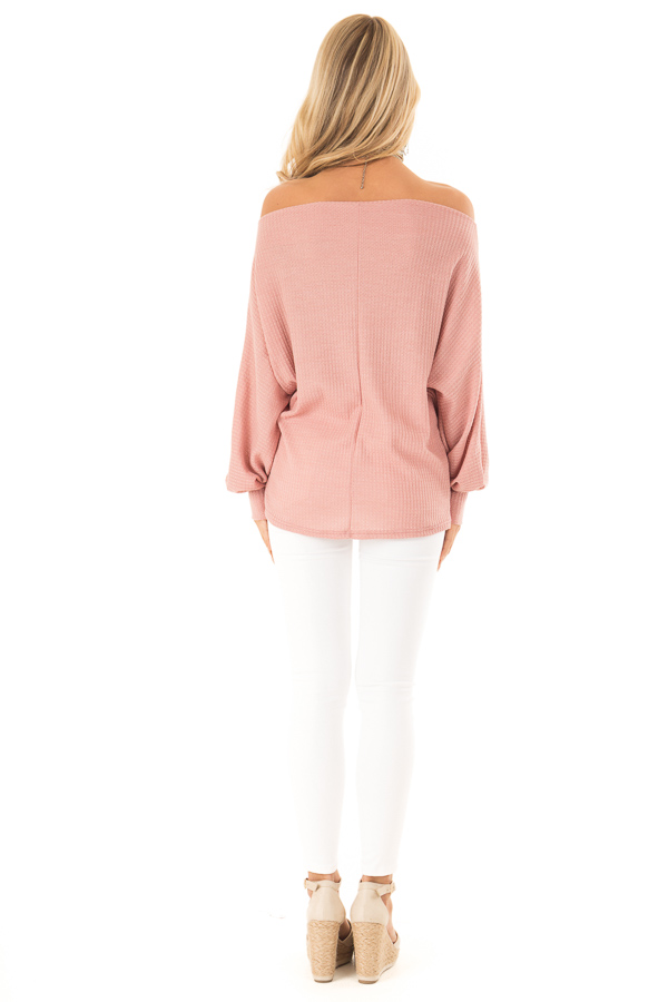 Dusty Pink Waffle Knit Off the Shoulder Dolman Top back full body