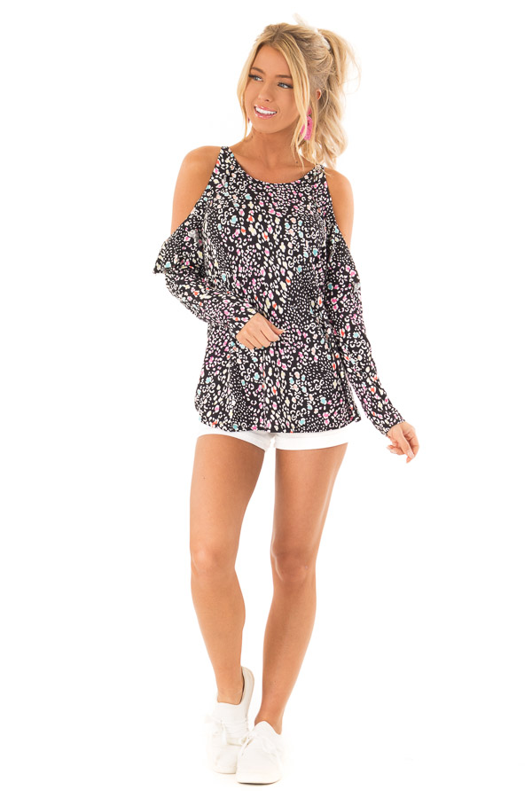fdbdef4d7a ... Black Cold Shoulder Ruffle Top with Multi Color Animal Print front full  body ...