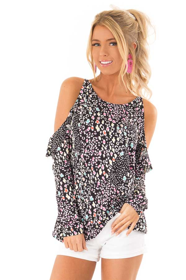 0679e80594 Black Cold Shoulder Ruffle Top with Multi Color Animal Print front close up