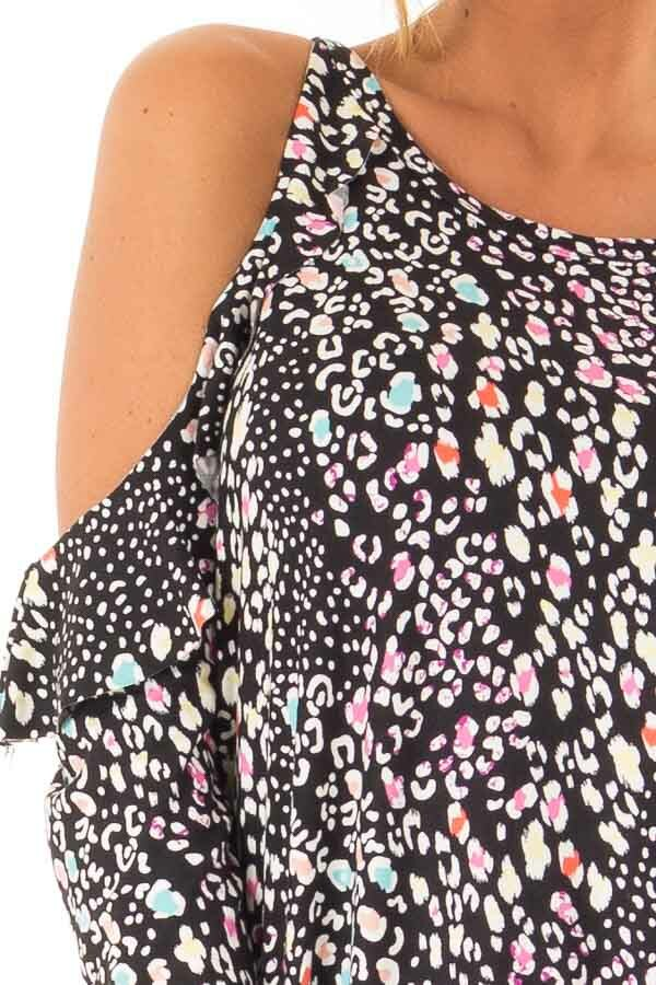 222108a72d Black Cold Shoulder Ruffle Top with Multi Color Animal Print detail