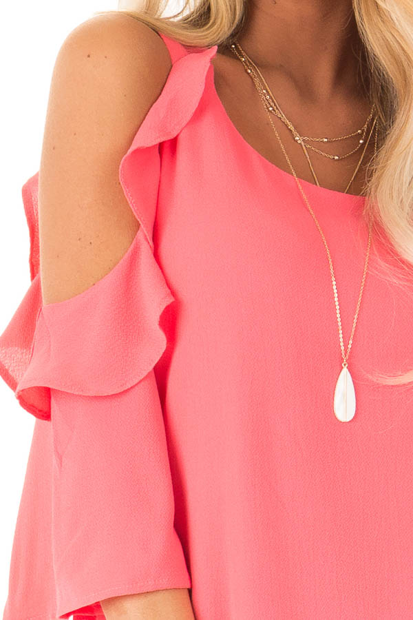 Coral Cold Shoulder Dress with Ruffle Detail detail