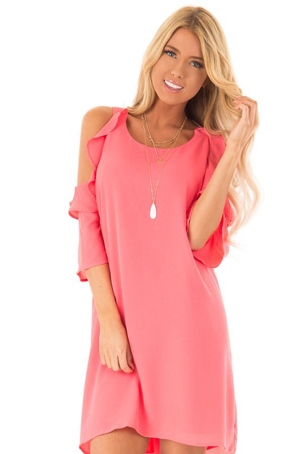 Coral Cold Shoulder Dress with Ruffle Detail front close up