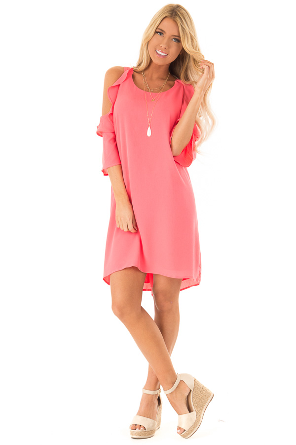 Coral Cold Shoulder Dress with Ruffle Detail front full body