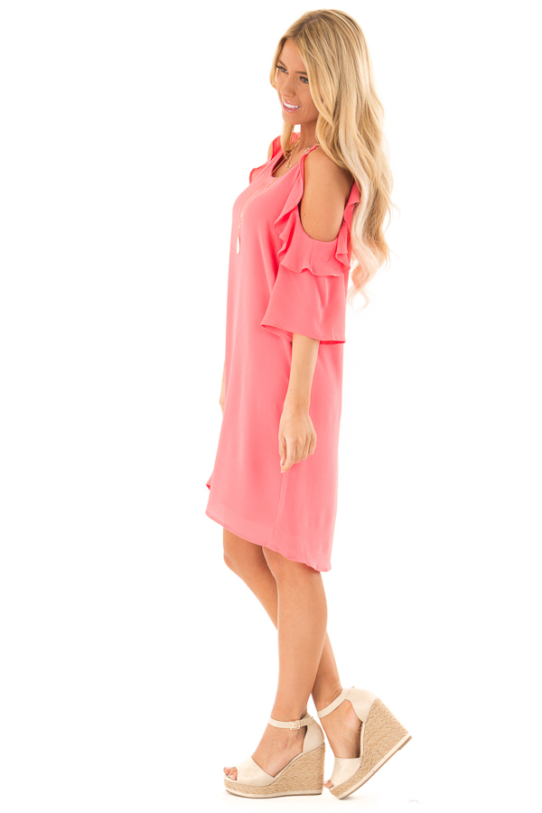 Coral Cold Shoulder Dress with Ruffle Detail side full body