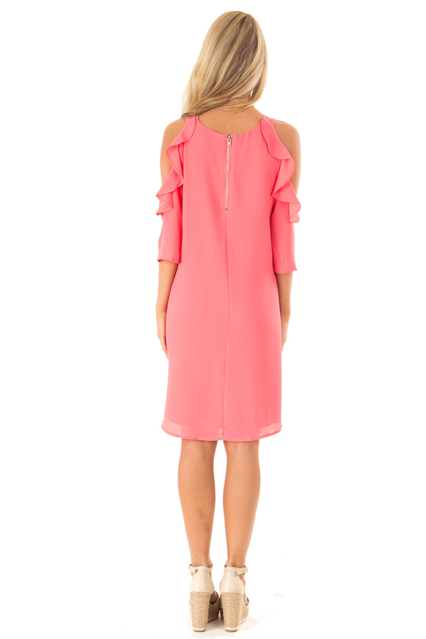 Coral Cold Shoulder Dress with Ruffle Detail back full body