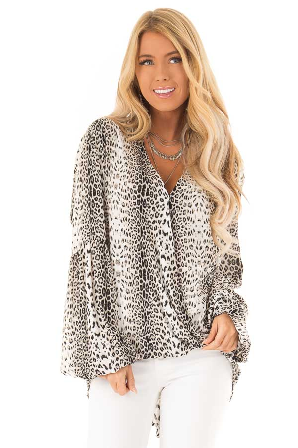 f28298e6e24 Taupe Leopard Print Draped Blouse with Long Bishop Sleeves front close up