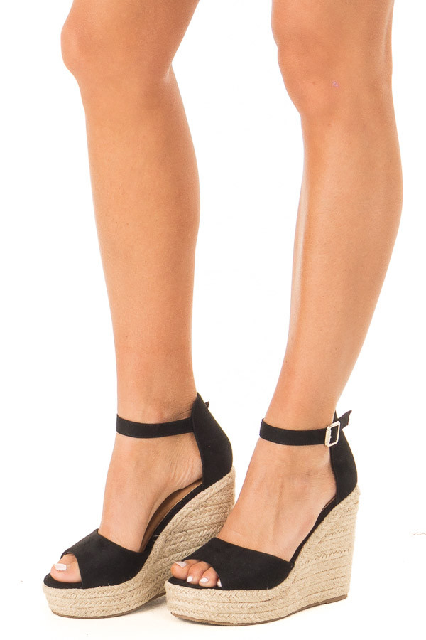 Black Open Toe Braided Wedge with Ankle Strap side view