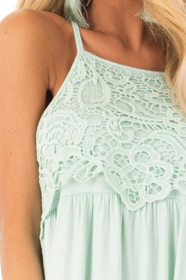 Seafoam Sleeveless Top with Crochet Lace Detail detail