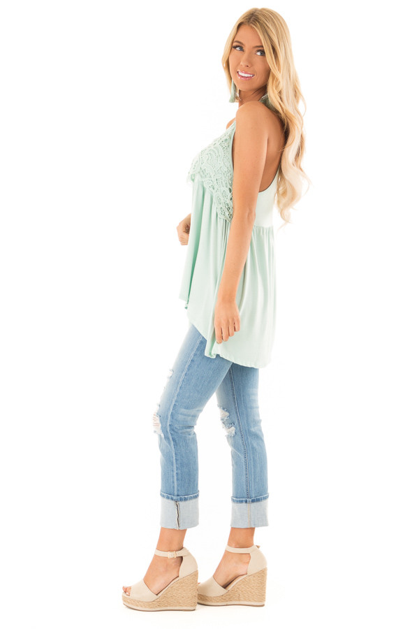 Seafoam Sleeveless Top with Crochet Lace Detail side full body