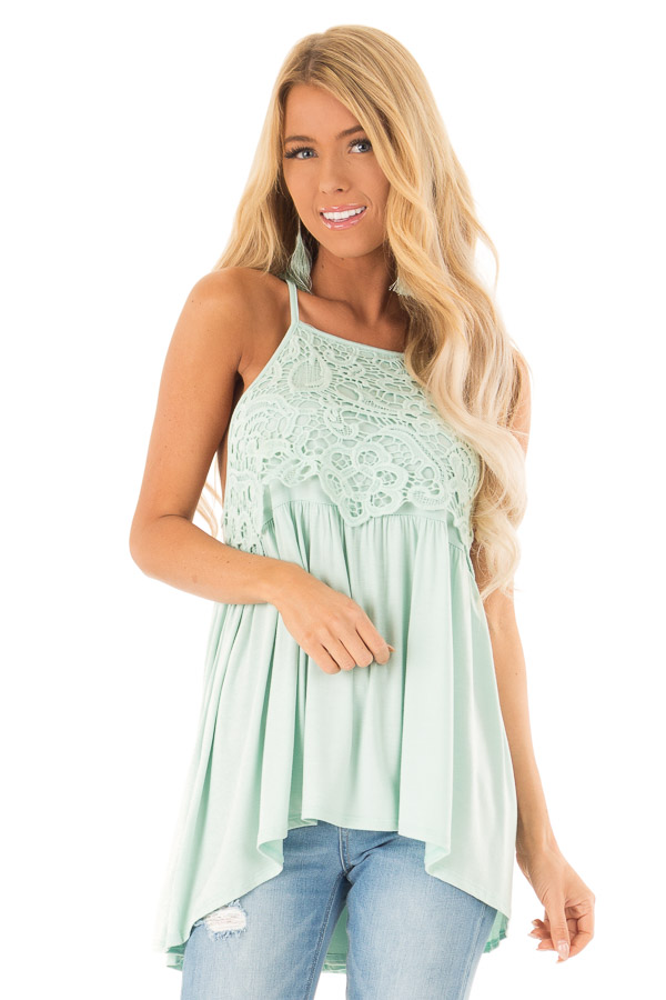 Seafoam Sleeveless Top with Crochet Lace Detail front close up