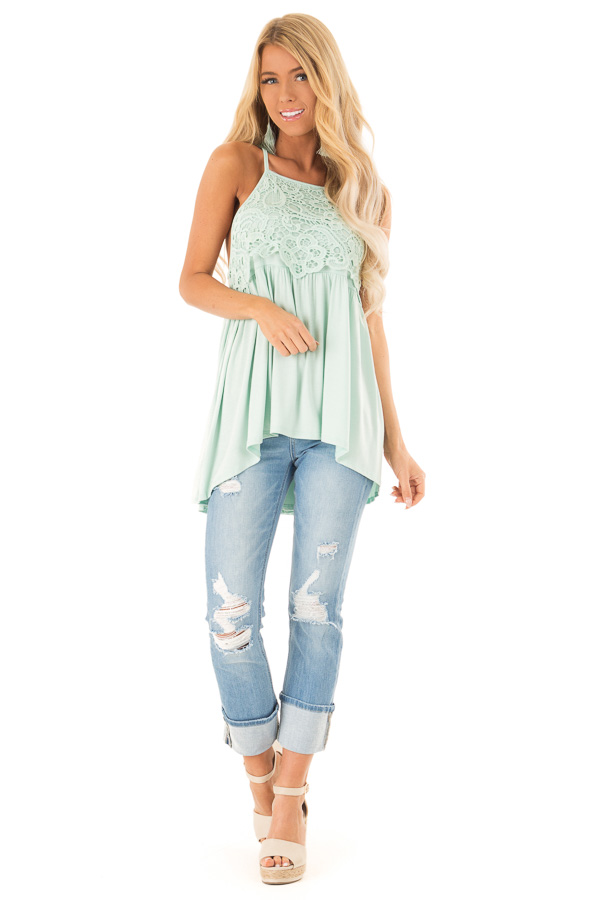 Seafoam Sleeveless Top with Crochet Lace Detail front full body