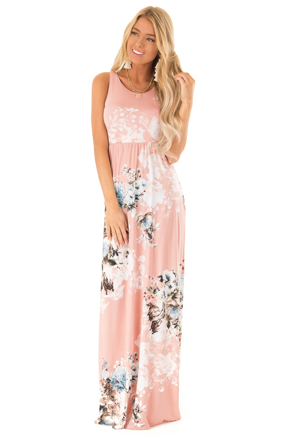 Dusty Rose Floral Racerback Maxi Dress with Side Pockets front full body