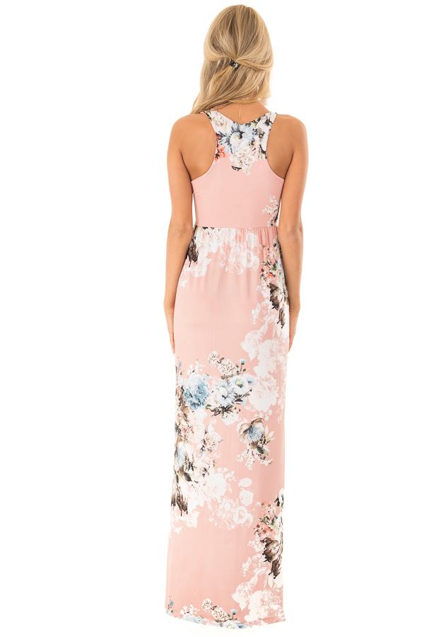 Dusty Rose Floral Racerback Maxi Dress with Side Pockets back full body