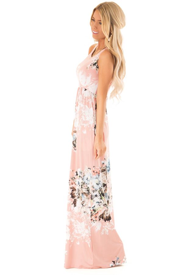 Dusty Rose Floral Racerback Maxi Dress with Side Pockets side full body