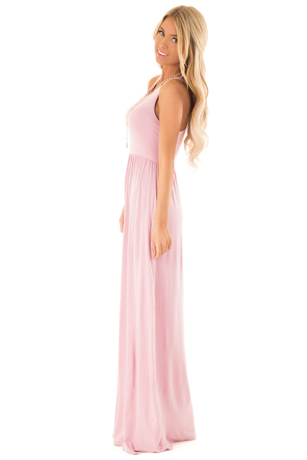Rose Pink Racerback Tank Maxi Dress with Pockets side full body