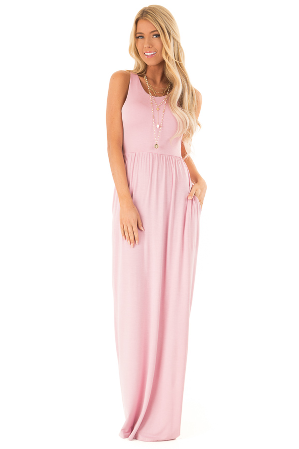 Rose Pink Racerback Tank Maxi Dress with Pockets front full body