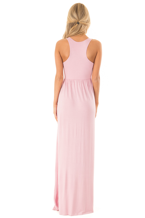 Rose Pink Racerback Tank Maxi Dress with Pockets back full body