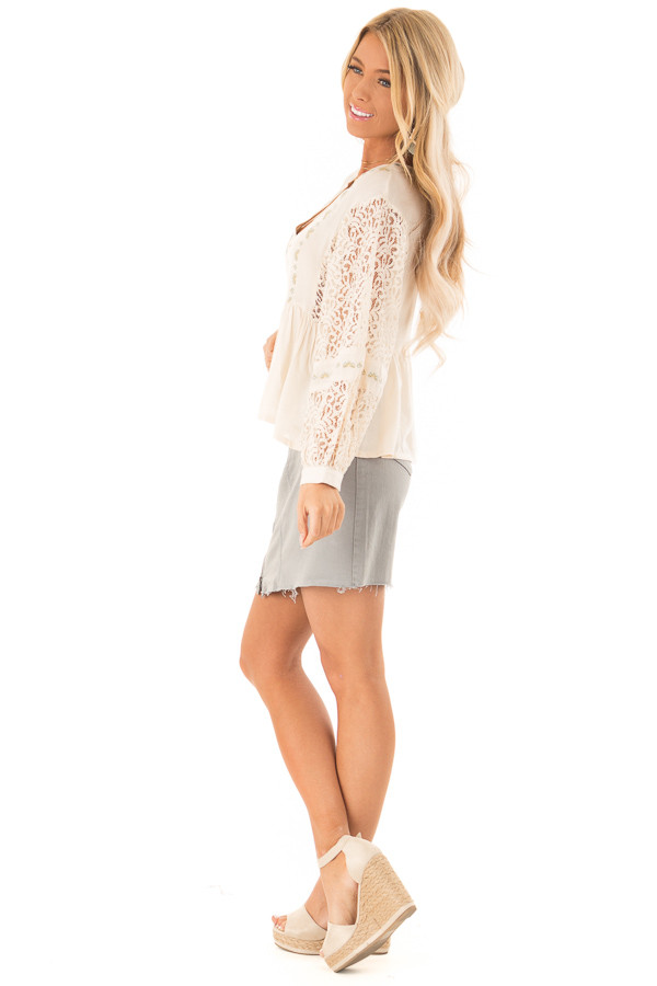 Cream Embroidered V Neck Blouse with Sheer Lace Detail side full body