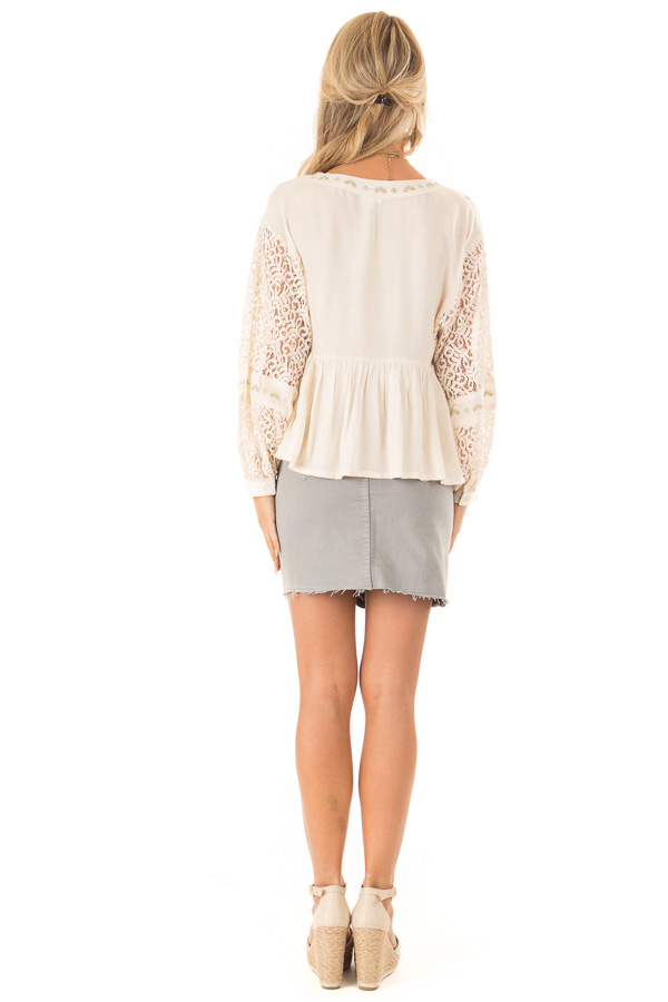 Cream Embroidered V Neck Blouse with Sheer Lace Detail back full body