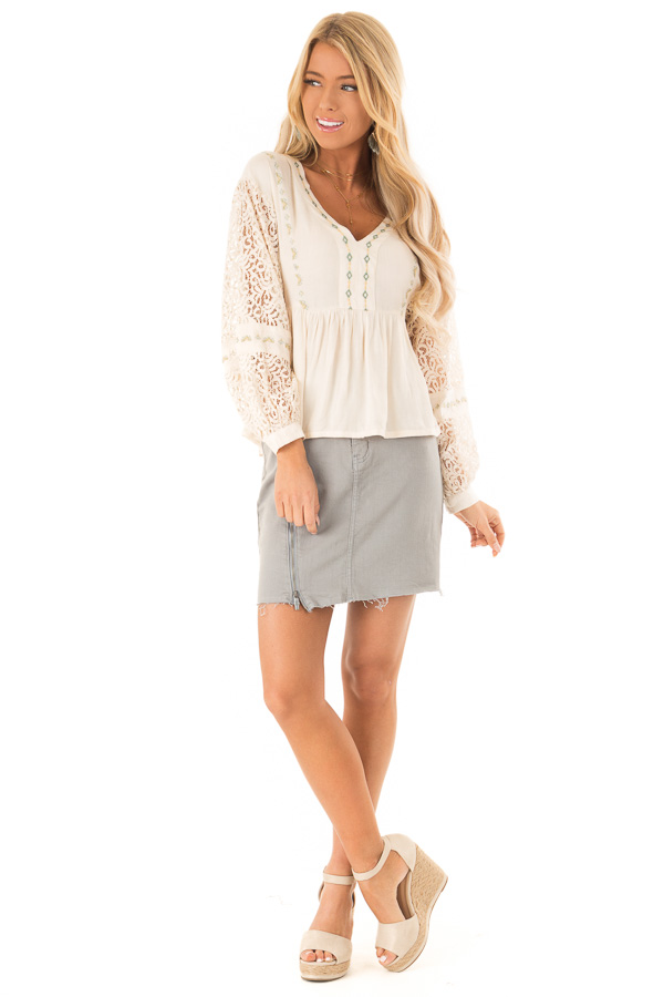 Cream Embroidered V Neck Blouse with Sheer Lace Detail front full body