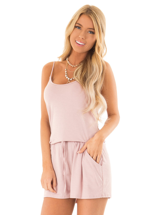 Dusty Mauve Sleeveless Romper with Front Tie and Pockets front close up