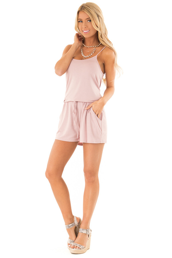 Dusty Mauve Sleeveless Romper with Front Tie and Pockets front full body