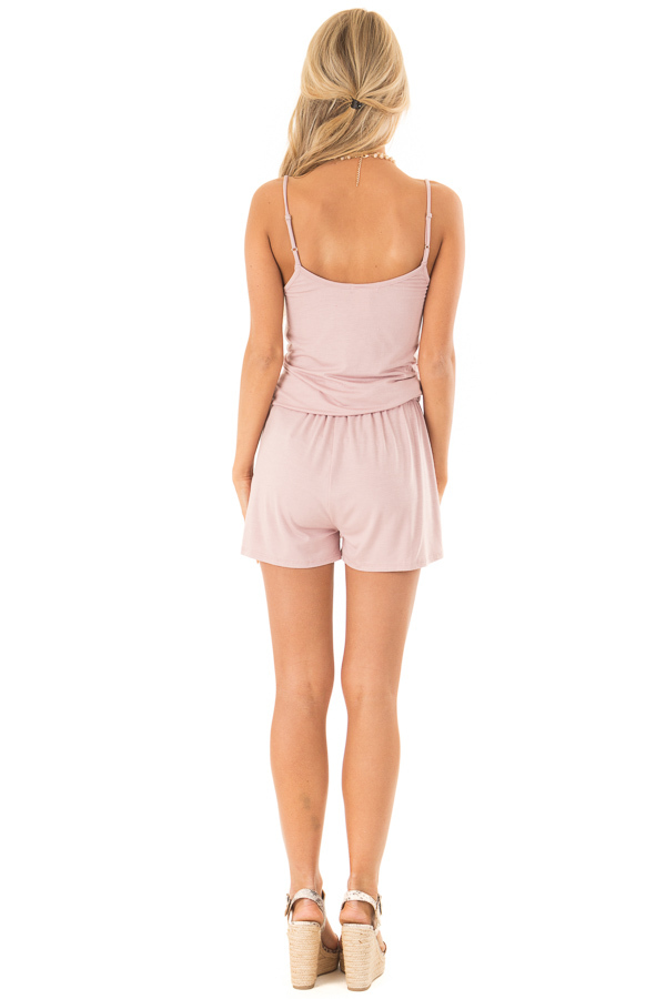 Dusty Mauve Sleeveless Romper with Front Tie and Pockets back full body