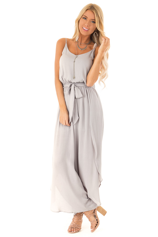 Pebble Grey Sleeveless Jumpsuit with Leg Slits and Back Tie front full body