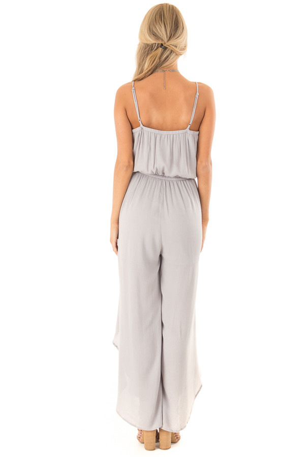 Pebble Grey Sleeveless Jumpsuit with Leg Slits and Back Tie back full body